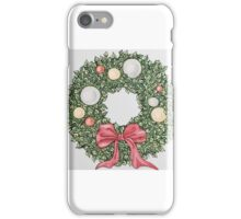 Red Ribbon Wreath (muted) iPhone Case/Skin