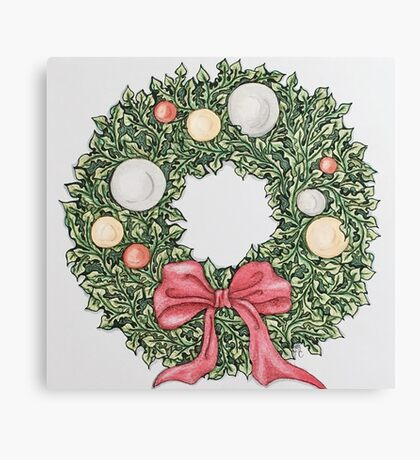 Red Ribbon Wreath (muted) Canvas Print