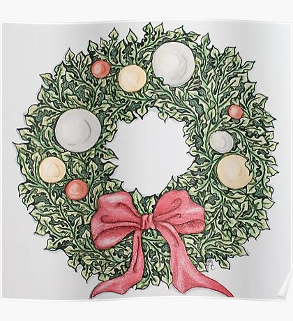 Red Ribbon Wreath (muted) Poster