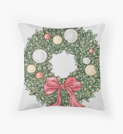 Red Ribbon Wreath (muted) Throw Pillow