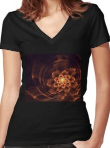 Interesting  abstract background in brown and golden tones  Women's Fitted V-Neck T-Shirt