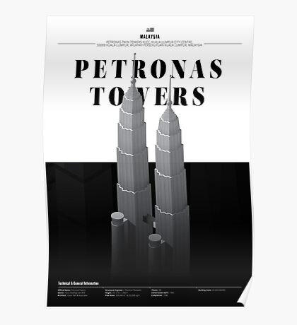Petronas Twin Towers White Edition Poster