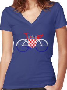 Bike Flag Croatia (Big) Women's Fitted V-Neck T-Shirt