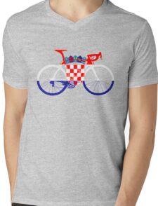 Bike Flag Croatia (Big) Mens V-Neck T-Shirt