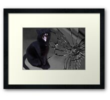 MEOWW-CAT'S BROKEN MIRROR -7YEARS BAD LUCK-NO - SUPERSTITION AIN'T THE WAY. Framed Print