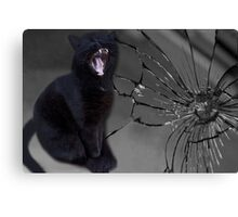 MEOWW-CAT'S BROKEN MIRROR -7YEARS BAD LUCK-NO - SUPERSTITION AIN'T THE WAY. Canvas Print