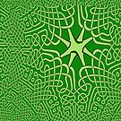 A Maze of Green Celtic knots by Dennis Melling
