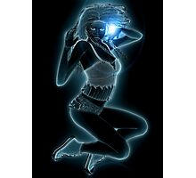 Blue glowing girl Photographic Print