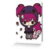 PASTEL GOTH GIRL WITH PENGUIN Greeting Card
