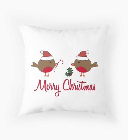 Robin Redbreast Christmas Gift Throw Pillow