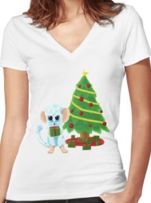 Fluffy Christmas Mouse Women's Fitted V-Neck T-Shirt