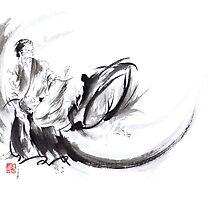Aikido ink painting, japanese warriors  by Mariusz Szmerdt
