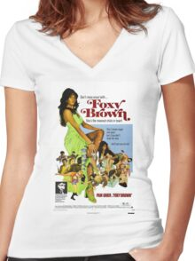 Foxy Brown (Blue) Women's Fitted V-Neck T-Shirt