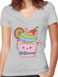 RAINBOW CUPCAKE Women's Fitted V-Neck T-Shirt