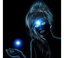 Blue glowing woman Photographic Print