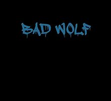 Bad Wolf - TARDIS Blue on Black (or Color of Your Choice) by SaraduJour