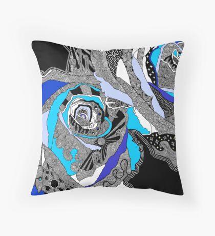 rose doodle blue Throw Pillow