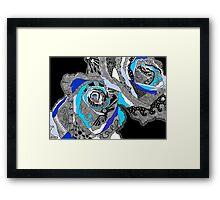 rose doodle blue Framed Print