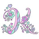 Letter K monogram decorative heart and flower art  by Sarah Trett