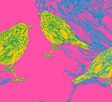 birds on pink by andley