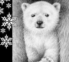 Polar Bear Cub Christmas Card by Lorna Mulligan