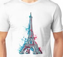 Eiffel Tower with abstract splashes in watercolor style Unisex T-Shirt