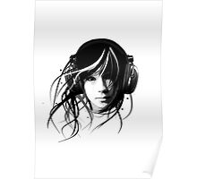 music rhythm headphones girl graphics club chill Ambient Poster