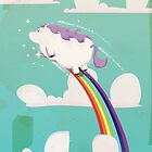 Flying unicorn on a Rainbow by Nick  Greenaway