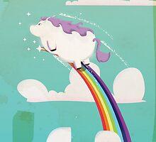 Flying unicorn on a Rainbow by Nick  Greenaway