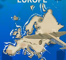 By Air To Europe Vintage Travel poster by Nick  Greenaway