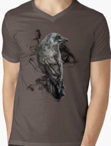 crow gothic bird raven realism drawing sketch tattoo Mens V-Neck T-Shirt