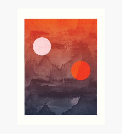 Star Wars A New Hope inspired artwork two suns Art Print