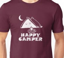 Happy Camper - 2 Smiling Faces In A Tent (White) Unisex T-Shirt