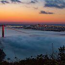 San Francisco Golden Gate Bridge Sunset City Skyline, California , America, USA.  by Noel Moore Up The Banner Photography