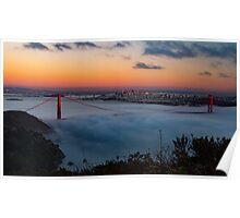 San Francisco Golden Gate Bridge Sunset City Skyline, California , America, USA.  Poster