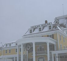 ocean house Watch Hill it's snowing by Maureen Zaharie