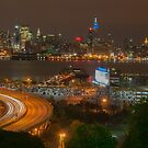 New York City Skyline At Night Panoramic by Noel Moore Up The Banner Photography