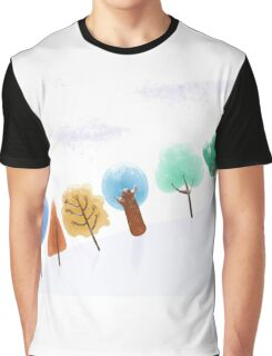 Christmas tree snowy scene Graphic T-Shirt