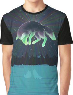 Starry Aurora Fox Graphic T-Shirt