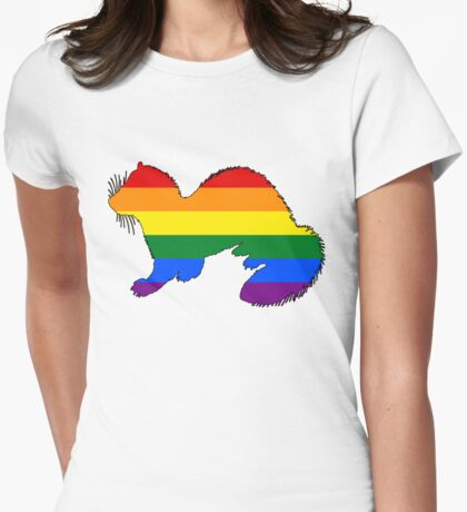 Rainbow Ferret Womens Fitted T-Shirt