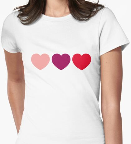 Pinkish Hearts Womens Fitted T-Shirt