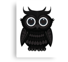 Black Owl - White Canvas Print