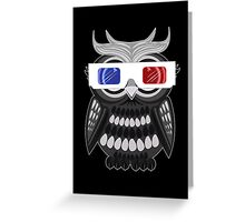 Owl - 3D Glasses - Black Greeting Card