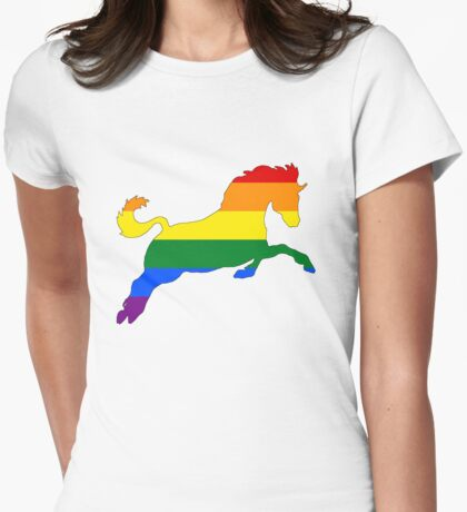 Rainbow Horse Womens Fitted T-Shirt