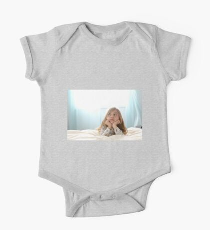 Young girl of seven daydreams in her bedroom  One Piece - Short Sleeve