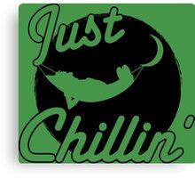 Just Chillin' - Man Relaxing in Hammock (black) Canvas Print