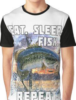 Eat, Sleep, Fish, Repeat Bass Fishing T-Shirt Funny Gifts Graphic T-Shirt