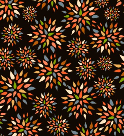 Abstract colorful flowers on black background. Sticker