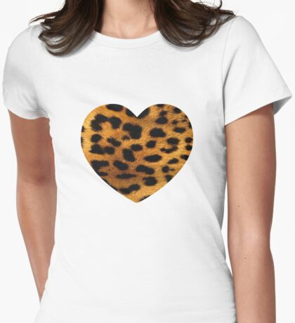 Leopard Big Heart Womens Fitted T-Shirt