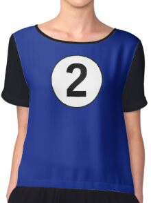 2, Two, Second, Number Two, Number 2, Racing, Competition, on Navy Blue Chiffon Top